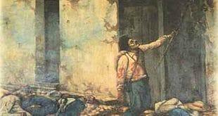 La quema del mesón por Juan Santamaría (1896), óleo sobre tela, del pintor costarricense Enrique Echandi, CP/WikiCommons